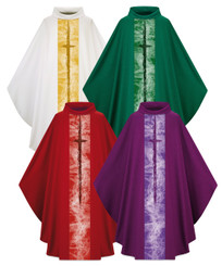 Gothic Chasuble in Pius fabric with Cross Motif