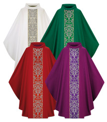 Gothic Chasuble in Pius fabric with Gold Cord