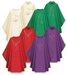 Gothic Chasuble in Cantate Fabric with Embroidery