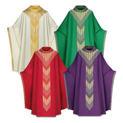 Monastic Chasuble in Cantate fabric with Gold Embroidery