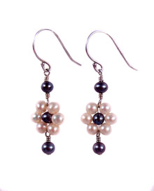 Blooming White Freshwater Pearl Flower Earrings