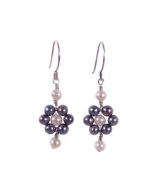 Blooming Black Freshwater Pearl Flower Earrings