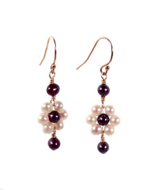 Blooming White Wine Freshwater Pearl Flower Earrings