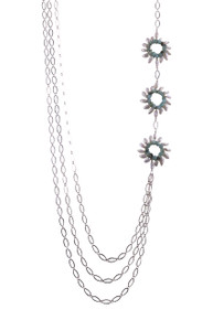 Triple Strand Sunburst Trio Necklace