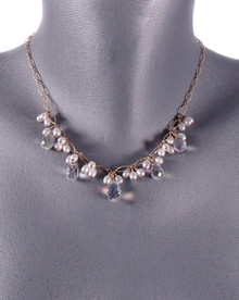 Swarovski Crystal and Freshwater Pearl Lace in Gold Necklace