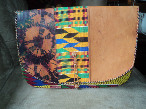 Oversized Leather Kente Clutch