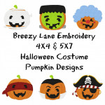 Costume Pumpkin Embroidery Machine Design Set 4X4 & 5X7