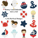 Cute Nautical Machine Embroidery Design Set 4X4 & 5X7