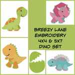 Dinosaur Machine Embroidery Design Set 4X4 and 5X7