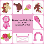 English Pony Machine Embroidery Design Set 4X4 & 5X7