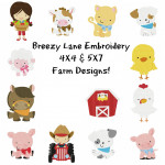 Farm Machine Embroidery Designs 4X4 & 5X7