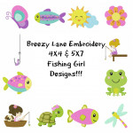 Fishing Girl Machine Embroidery Designs 4X4 & 5X7