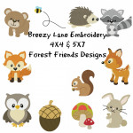 Forest Friends Machine Embroidery Design Set 4X4 & 5X7