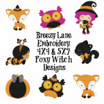 Foxy Witch Machine Embroidery Design Set 4X4 & 5X7