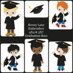 Graduation Boy Machine Embroidery Design Set 4X4 & 5X7