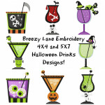 Halloween Drinks Machine Embroidery Designs 4X4 & 5X7