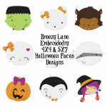 Halloween Faces Machine Embroidery Design Set 4X4 & 5X7