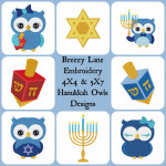 Hanukkah Owls Machine Embroidery Designs 4X4 & 5X7
