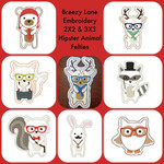 Hipster Animal Felties Machine Embroidery Design Set 2X2 & 3X3