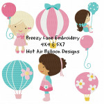 Hot Air Balloon Machine Embroidery Design Set 4X4 & 5X7