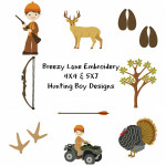 Hunting Boy Machine Embroidery Design Set 4X4 & 5X7