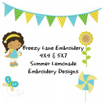 Lemonade Stand Machine Embroidery Design Set 4X4 & 5X7