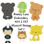 School Mascots Machine Embroidery Design Set 1 4X4 & 5X7