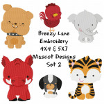 School Mascots Machine Embroidery Design Set 2 4X4 & 5X7
