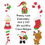Mr and Mrs Claus Christmas Machine Embroidery Design Set 4X4 & 5X7