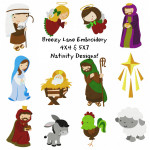 Christmas Nativity Machine Embroidery Design Set 4X4 & 5X7