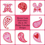 Paisley Butterfly Valentine's Day Machine Embroidery Design Set 4X4 & 5X7