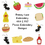 Picnic Ants Machine Embroidery Design Set 4X4 & 5X7