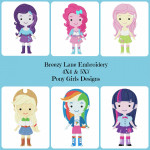 Pony Girls Machine Embroidery Design Set 4X4 & 5X7