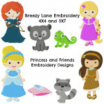 Princess Machine Embroidery Design Set 1 4X4 & 5X7