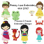 Princess Machine Embroidery Design Set 3 4X4 & 5X7