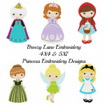 Princess Machine Embroidery Design Set 4 4X4 & 5X7