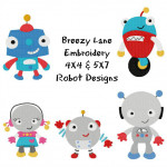Robot Boys and Girls Machine Embroidery Design Set 4X4 & 5X7