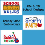 School Design Machine Embroidery Design Set 4X4 & 5X7