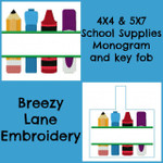 School Supplies Split Design and Key Fob 4X4 & 5X7
