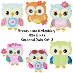 Seasonal Owls Set 2 Machine Embroidery Designs 4X4 & 5X7