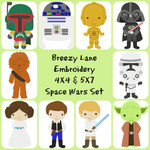 Space Wars Digital Machine Embroidery Design Set 4X4 & 5X7