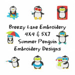 Summer Penguin Digital Machine Embroidery Design Set 4X4 & 5X7