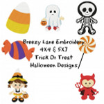 Trick Or Treat Halloween Digital Machine Embroidery Design Set 4X4 & 5X7