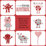 Valentine's Day Monsters Digital Embroidery Machine Design Set 4X4 & 5X7