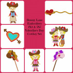 Valentine's Day Cowboy and Cowgirl Digital Machine Embroidery Design Set 4X4 & 5X7