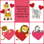 Valentine's Day Love Animals Digital Machine Embroidery Design Set 4X4 & 5X7