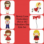 Valentine's Day Kids Digital Machine Embroidery Design Set 4X4 & 5X7