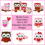 Valentine's Day Owls Digital Machine Embroidery Design Set 4X4 & 5X7