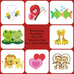 Love Animals Valentine's Day Digital Machine Embroidery Designs 4X4 & 5X7