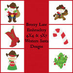 Western Santa and Mrs Claus Digital Machine Embroidery Design Set 4X4 & 5X7